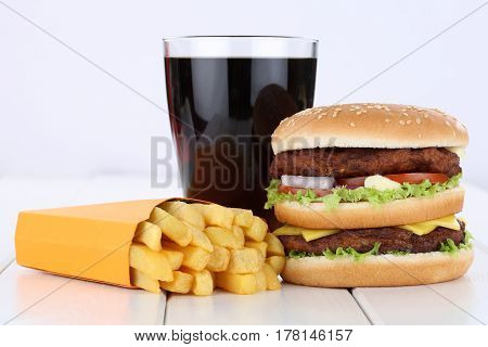 Double Burger Hamburger And Fries Menu Meal Combo Cola Drink Unhealthy Eating