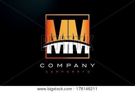 Mm M M Golden Letter Logo Design With Gold Square And Swoosh.