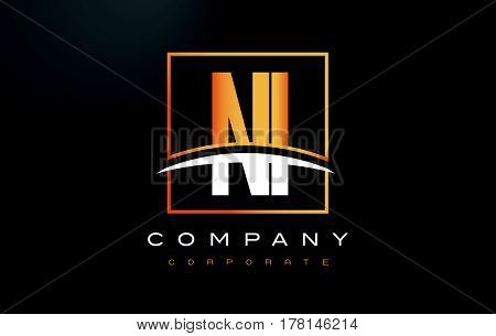 Ni N I Golden Letter Logo Design With Gold Square And Swoosh.