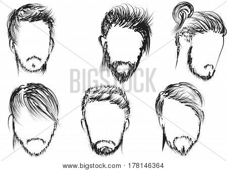 hairstyle. set of man hairstyle vector illustration