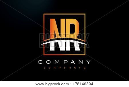 Nr N R Golden Letter Logo Design With Gold Square And Swoosh.