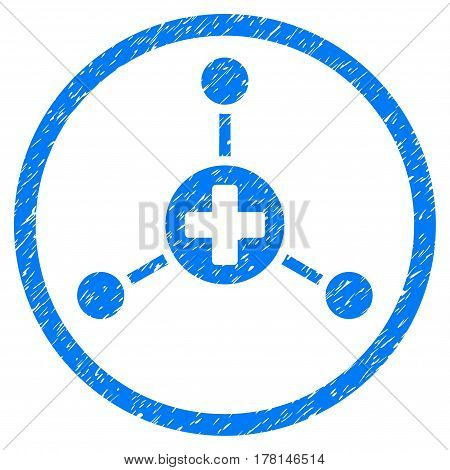 Medical Center grainy textured icon inside circle for overlay watermark stamps. Flat symbol with dirty texture.