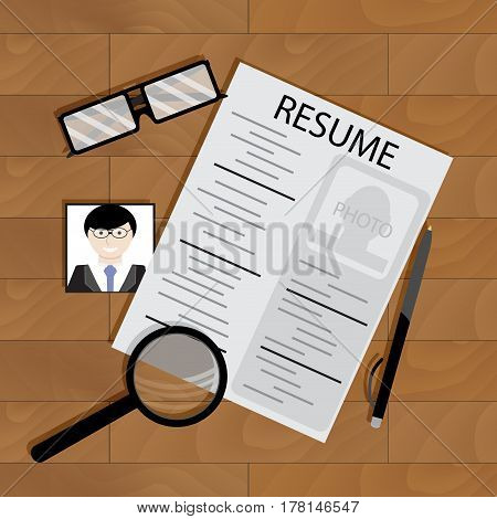 Write resume on table. Blank document resume with photo vector illustration