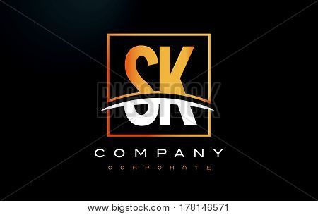 Sk S K Golden Letter Logo Design With Gold Square And Swoosh.