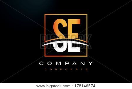 Se S E Golden Letter Logo Design With Gold Square And Swoosh.