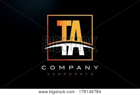 Ta T A Golden Letter Logo Design With Gold Square And Swoosh.