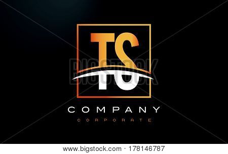Ts T S Golden Letter Logo Design With Gold Square And Swoosh.