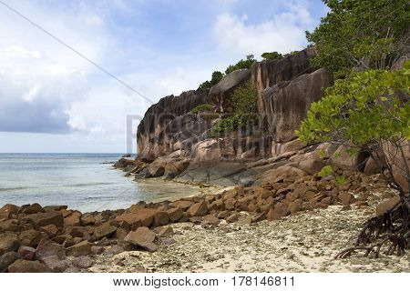 Tropical coastline at Curieuse island, Seychelles islands