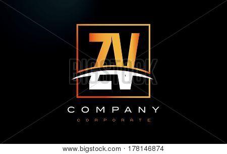 Zv Z V Golden Letter Logo Design With Gold Square And Swoosh.