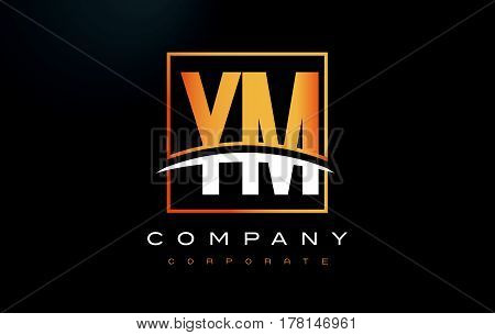 Ym Y M Golden Letter Logo Design With Gold Square And Swoosh.