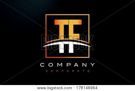 Tf T F Golden Letter Logo Design With Gold Square And Swoosh.