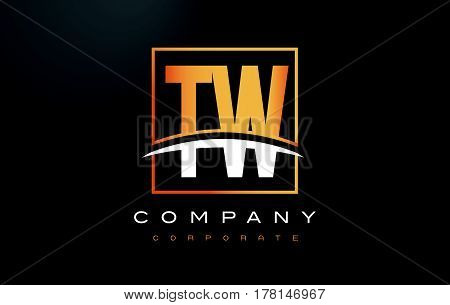Tw T W Golden Letter Logo Design With Gold Square And Swoosh.