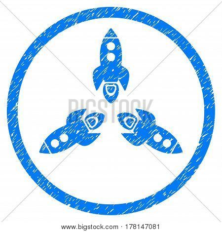 Rockets grainy textured icon inside circle for overlay watermark stamps. Flat symbol with unclean texture. Circled dotted vector blue ink rubber seal stamp with grunge design on a white background.