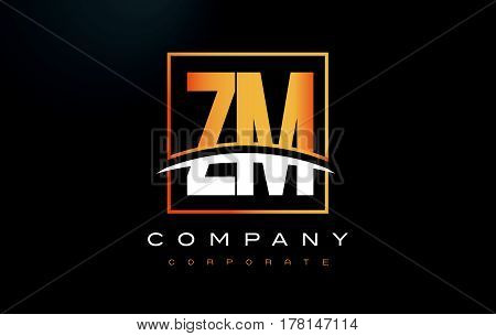 Zm Z M Golden Letter Logo Design With Gold Square And Swoosh.