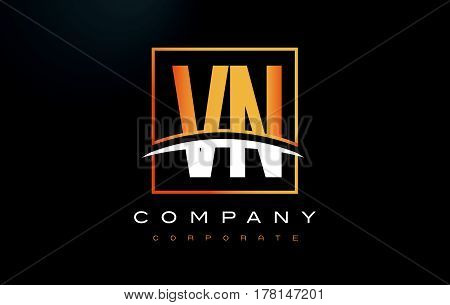 Vn V N Golden Letter Logo Design With Gold Square And Swoosh.