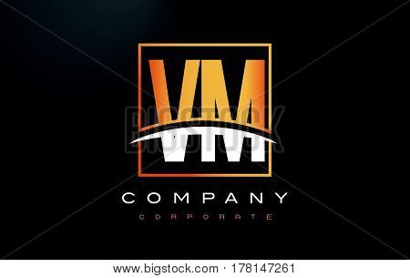 Vm V M Golden Letter Logo Design With Gold Square And Swoosh.