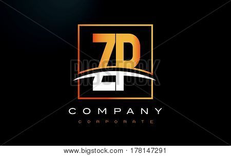Zp Z P Golden Letter Logo Design With Gold Square And Swoosh.