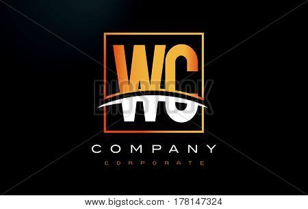 Wc W C Golden Letter Logo Design With Gold Square And Swoosh.