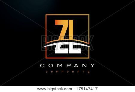 Zl Z L Golden Letter Logo Design With Gold Square And Swoosh.