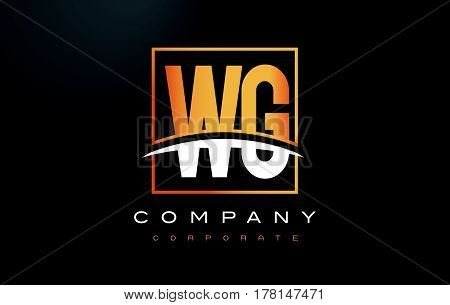 Wg W G Golden Letter Logo Design With Gold Square And Swoosh.