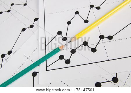 Business drawing chart graphics and two panils