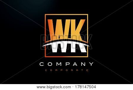 Wk W K Golden Letter Logo Design With Gold Square And Swoosh.