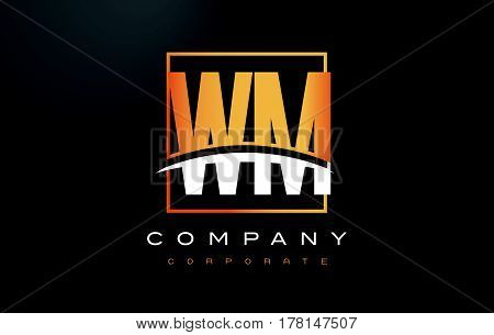 Wm W M Golden Letter Logo Design With Gold Square And Swoosh.