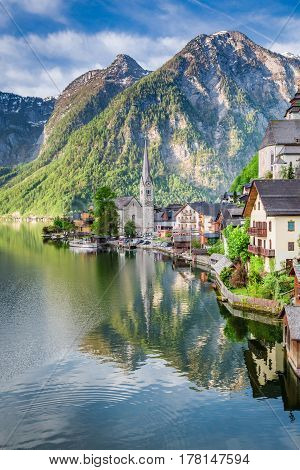 Beautiful Dawn At Mountain Lake In Hallstatt, Alps, Austria, Europe