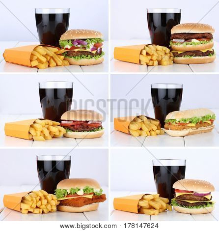 Hamburger Collection Set Cheeseburger And Fries Menu Meal Combo Cola Drink Unhealthy Eating
