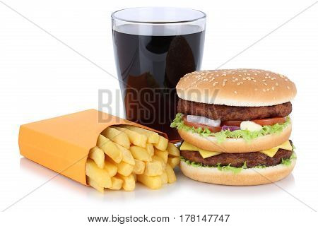Double Burger Hamburger And French Fries Menu Meal Combo Cola Drink Fast Food Isolated