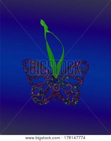 A neon andmade butterfly ready for decoration