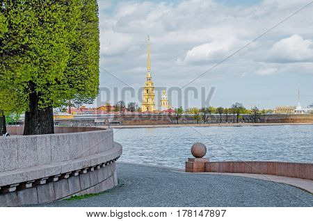 The Peter and Paul Fortress of the Vasilyevsky Island arrow in the spring in St. Petersburg.
