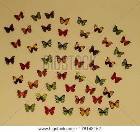 Lots of butterfly buttons flying everywhere with a vintage feel