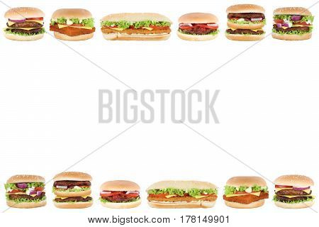 Hamburger Cheeseburger Burger Copyspace Copy Space Border Tomatoes Lettuce Isolated