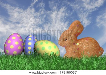 3D. Three speckled easter eggs with an easter bunny