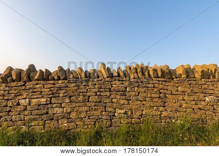 Country Side Cotswold Stone Wall.