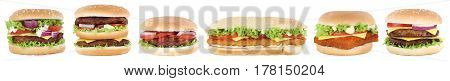 Hamburger Collection Set Cheeseburger Burger Tomatoes Lettuce Isolated In A Row