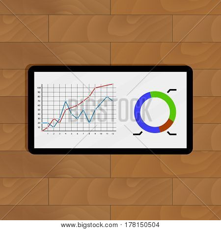Infochart color on wooden table. Management and growth stats on display digital. Vector illustration