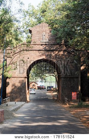 Old Goa, India - 8 January 2015: Vicere arch at old Goa on India