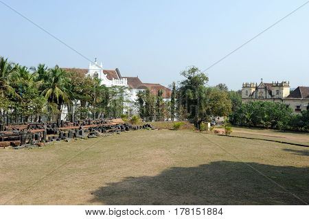 Goa, India - 8 January 2015: Garden of St. Augustine convent complex at Old Goa on India.