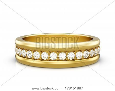Jewelry ring on a white background. 3D illustration.