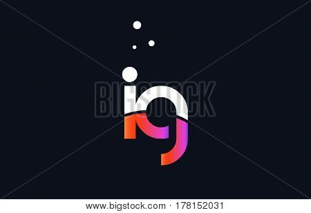 Ig I Q  Pink Purple White Blue Alphabet Letter Logo Icon Template