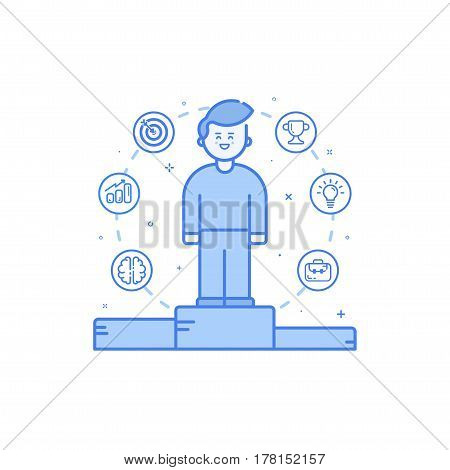 Vector illustration in flat bold linear style with boy and blue icons. Concept of business competition winner - man standing on the podium on the first place - career achievement Outline filled object