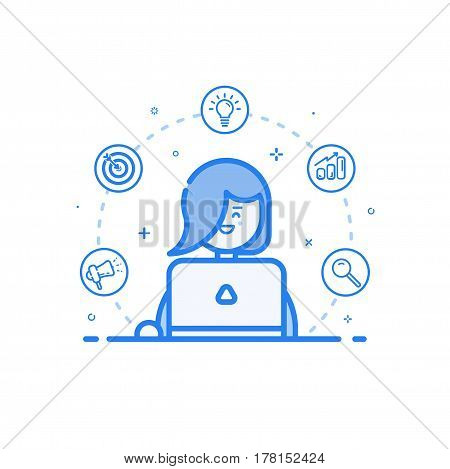 Vector illustration of blue icon in flat line style. Linear cute and happy woman with laptop. Graphic design concept of social networking in Web Project and Applications Outline isolated object.