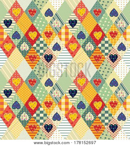 Colorful seamless patchwork pattern with rhombuses and hearts. Beautiful vector illustration of quilt.