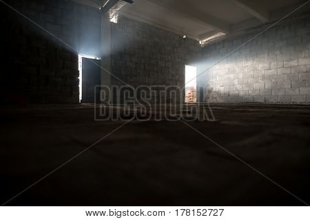 Floor just being cemented shot in a repaired studio