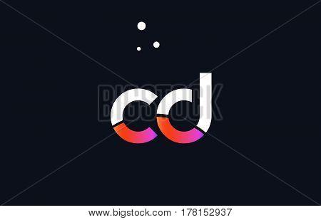 Cd C D  Pink Purple White Blue Alphabet Letter Logo Icon Template