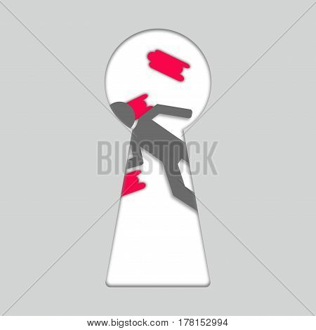 Concept of crime. Keyhole, and dead person. 3d cutout paper art.