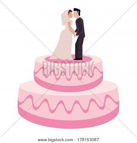 wedding cake couple sweet vector illustration eps 10