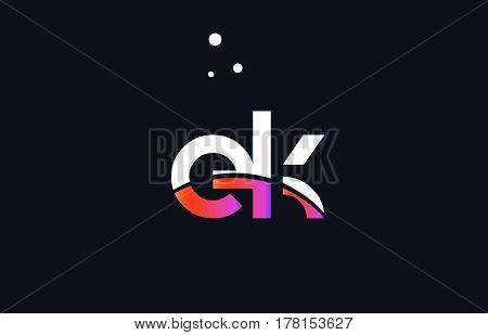 Ek E K  Pink Purple White Blue Alphabet Letter Logo Icon Template